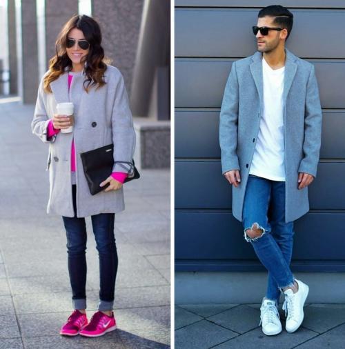Пальто бежевое с кроссовками. Базовые правила аутфита