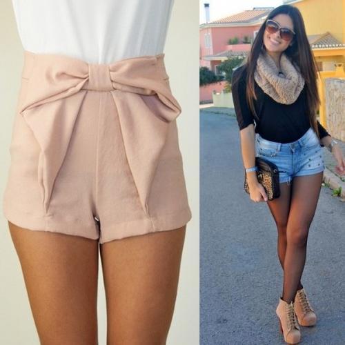 Завышенные шорты с чем носить. Красивые женские шорты с высокой талией 2019 года: короткие и длинные модели на фото