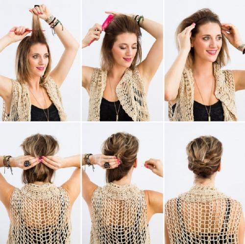 Как красиво заколоть волосы короткие в домашних условиях. Прически на короткие волосы своими руками на каждый день