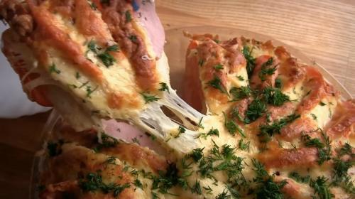 Пирог из батона с ветчиной и помидорами. Оригинальный пирог из батона с ветчиной и сыром: ленивый вариант