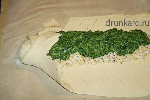 Пирог с курицей и шпинатом. Пирог со шпинатом, курицей и сыром