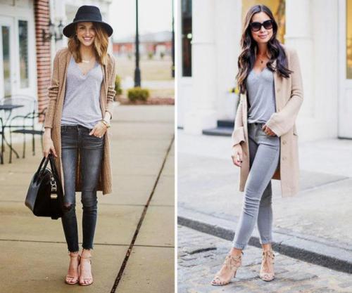 Лук с серыми джинсами. С чем носить