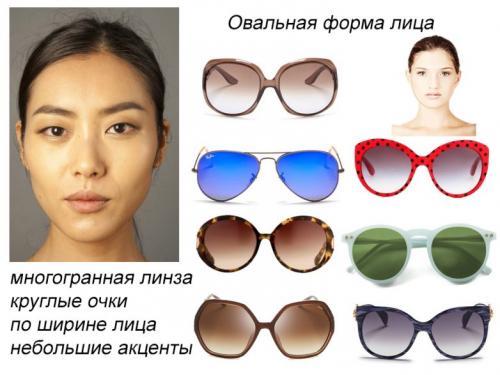 Солнечные очки по типу лица женские.
