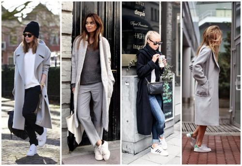 Пальто с кроссовками белыми. Какое пальто подойдёт для комбинирования с белыми кроссовками