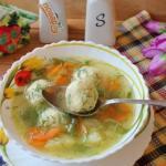 Овощной суп с сырными шариками.