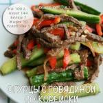 Огурцы с говядиной по-корейски.
