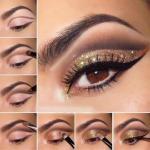 Золотой макияж.  Использовать золотой цвет сейчас очень модно.