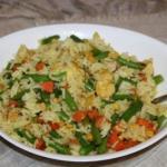 Рис с курицей и фасолью.